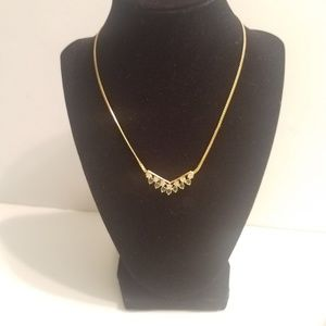 Gold Tone Necklace with Green and White Rhinestone